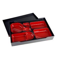 Bento Box Neagra, Interior Rosu, Plastic, 37,5 x 26 x 6cm