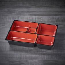 Bento Box Profesionala Neagra, Interior Rosu, Rasina, 31 x 24,7 x 6,7cm