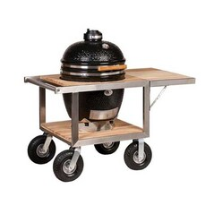 Gratar Ceramic cu Carbuni, Grill Set CLASSIC Black cu Buggy din Inox si Teak - Monolith, Germania