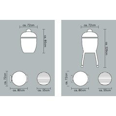 Gratar Ceramic cu Carbuni, Grill Set LE CHEF Black