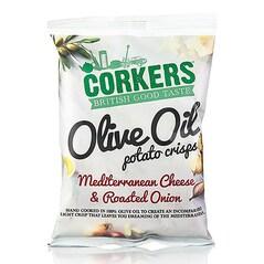 Chips-uri de Cartofi cu Branza Mediteraneana si Ceapa Prajita, 35g - Corkers, UK