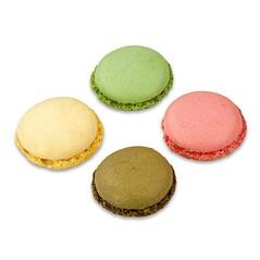Macarons Asortate 1, Jumatati Coapte de Pricomigdale, (cate 96 din Choco/Fistic/Natur/Zmeura, ø3,5cm, 384buc., 921g