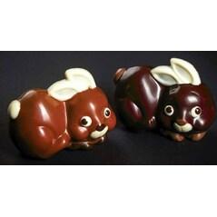 Iepuras de Ciocolata, 2 Amprente, Pentru un Iepuras de 10 x 7,5cm, Forma din Policarbonat, 275 x 135 mm - Matfer