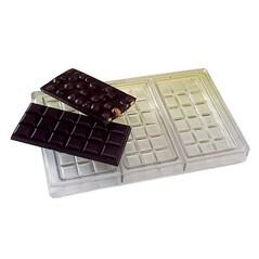 Placa pentru Ciocolata, cu 3 Tablete de 15 x 6,8 x 1cm, Forms din Policarbonat, 275 x 175mm - Matfer