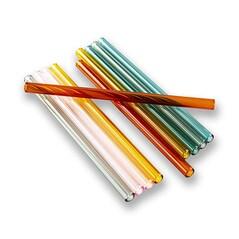 Paie de Baut, Borosilicat, Drepte si Colorate, Ø8mm (1,5mm grosime), 15cm, Set 10buc.