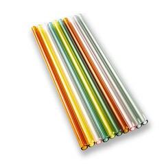 Paie de Baut, Borosilicat, Drepte si Colorate, Ø8mm (1,5mm grosime), 24cm, Set 10buc.