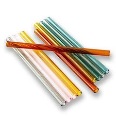 Paie de Baut, Borosilicat, Drepte si Colorate, Ø8mm (1,5mm grosime), 15cm, Set 50buc.