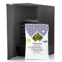 Chips-uri de Alge Nori cu Piper Negru, Seaveg Crispies, BIO, 15 x 8g, 120g - Clearspring