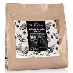 Ciocolata Couverture Neagra, Equatoriale Noire, pastile, 55% Cacao, 1Kg - VALRHONA