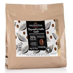 Ciocolata Couverture cu Lapte, Equatoriale Lait, pastile, 35% Cacao, 1Kg - VALRHONA