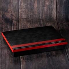 Shokado Bento Box Neagra, Interior Rosu, XL, 38 x 26 x 6cm