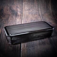 Shokado Bento Box Neagra, Interior Rosu, 3 Compartimente Detasabile, 305 x 145 x 60mm