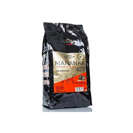Ciocolata Couverture Neagra Mananka, callets, 62% Cacao, Madagascar, 3 Kg - VALRHONA