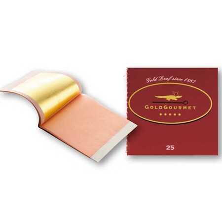 Foite de Aur Comestibil, 23 Kt, 80 x 80 mm, cu Transfer, 25 Foite - GoldGourmet, Germania