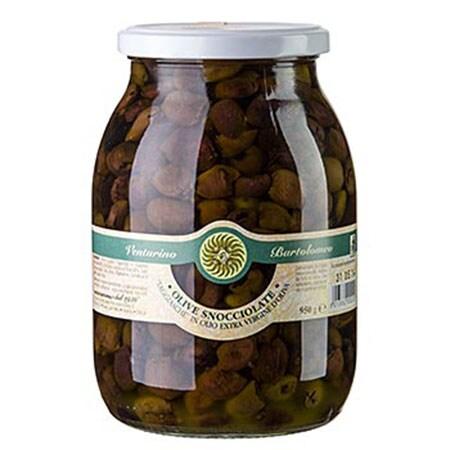 Mix de Masline Taggiasca, Verzi si Negre, in Ulei de Masline ExtraVirgin, fara Samburi, 950 g - Venturino, Italia