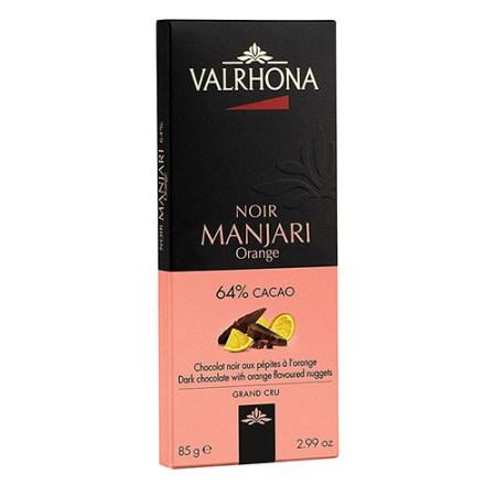 Ciocolata Neagra cu Bucatele de Portocala, 64% Cacao, Madagascar, Manjari Orange Grand Cru, 100 g - VALRHONA