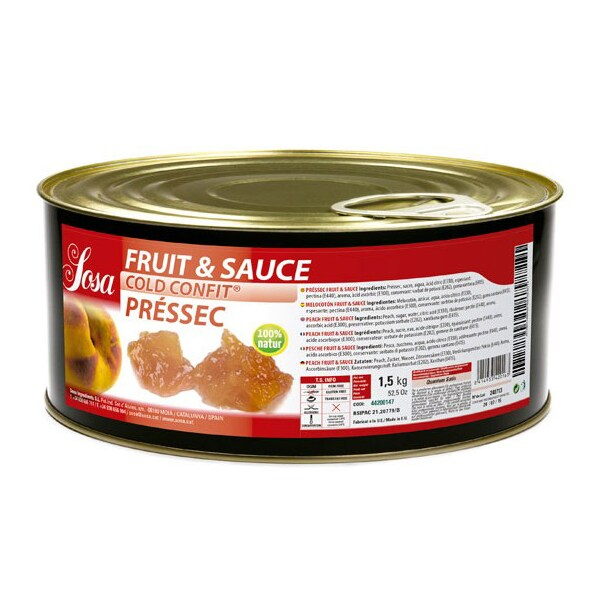 Fruit & Sauce din Piersici, Bucati de 1 x 1cm, Cold-Confit, 1.5Kg - SOSA
