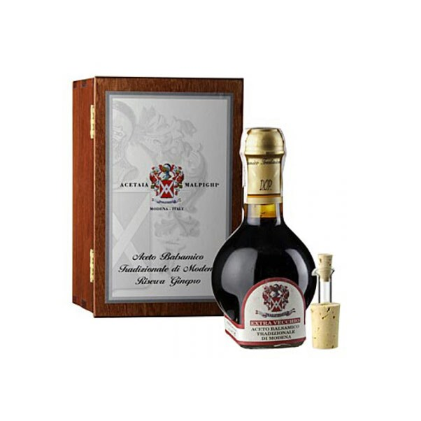 Aceto Balsamico Tradizionale DOP, Riserva Ginepro, Maturat 80 Ani, Cutie Cadou, 100 ml - Malpighi, Italia