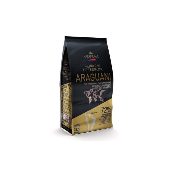 "Ciocolata Couverture Neagra Araguani ""Grand Cru"", callets, 72% Cacao din Venezuela, 3 Kg - VALRHONA"